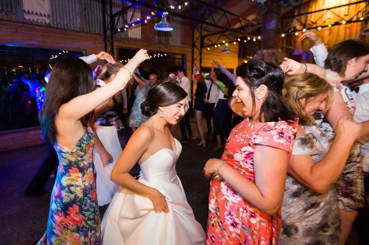 Photo of women dancing at a wedding